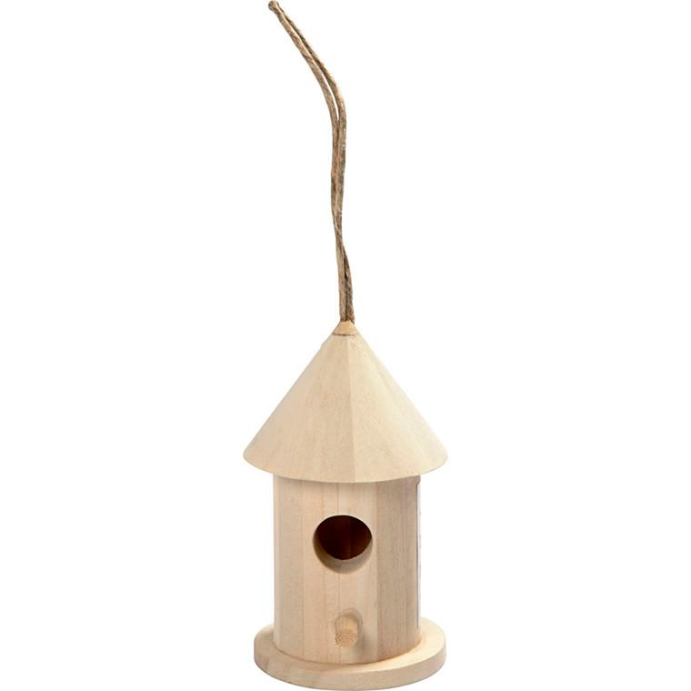 Fuglehus i poppel Højde 8 cm - diameter 4,5  cm