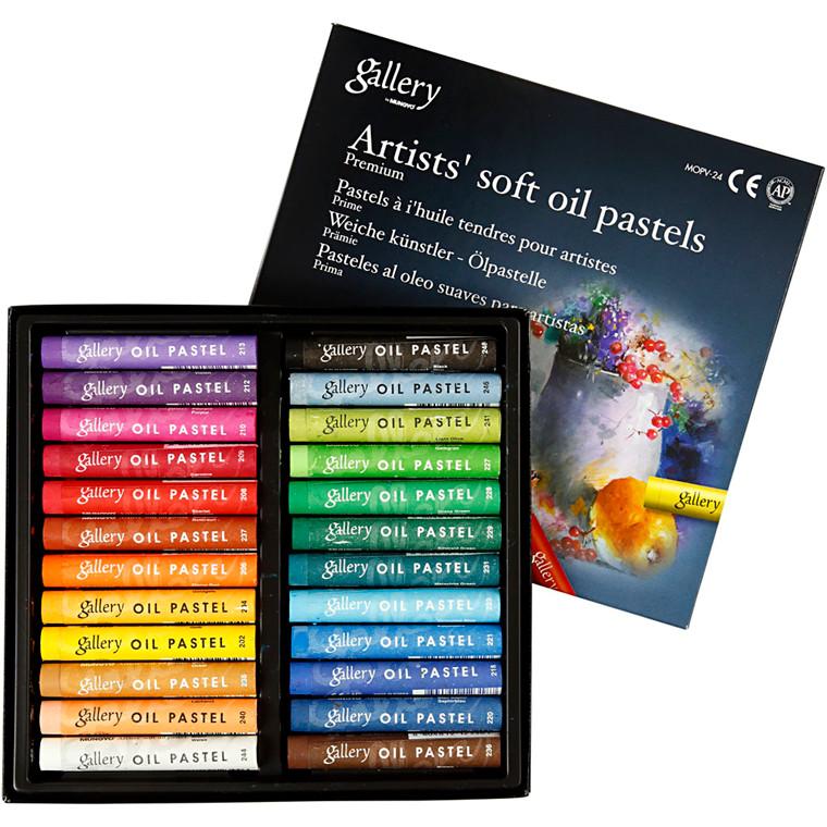 Gallery oliepastel premium, tykkelse 10 mm, L: 7 cm, ass. farver, 24stk.