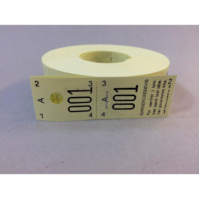 Garderobemærker gul 2-delt - rulle med 500 stk.