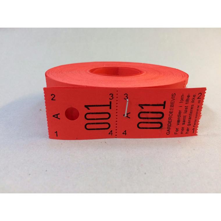 Garderobenumre rød 2-delt - rulle med 500 stk.