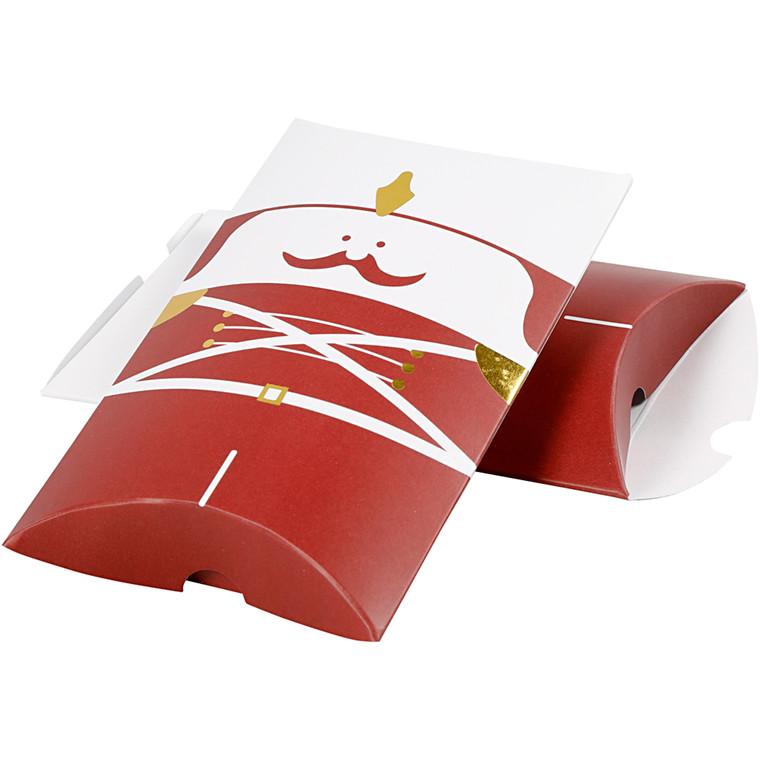 Gaveæske, str. 14,9x9,4x2,5 cm, 300 g, hvid, guld, rød, nøddeknækker, 3stk.