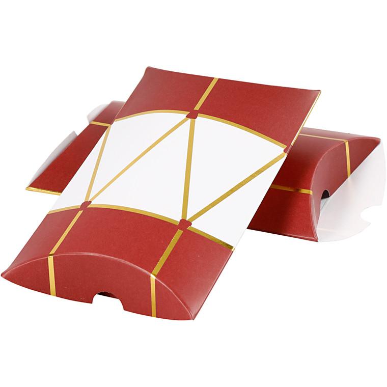 Gaveæske, str. 14,9x9,4x2,5 cm, 300 g, hvid, guld, rød, tromme, 3stk.