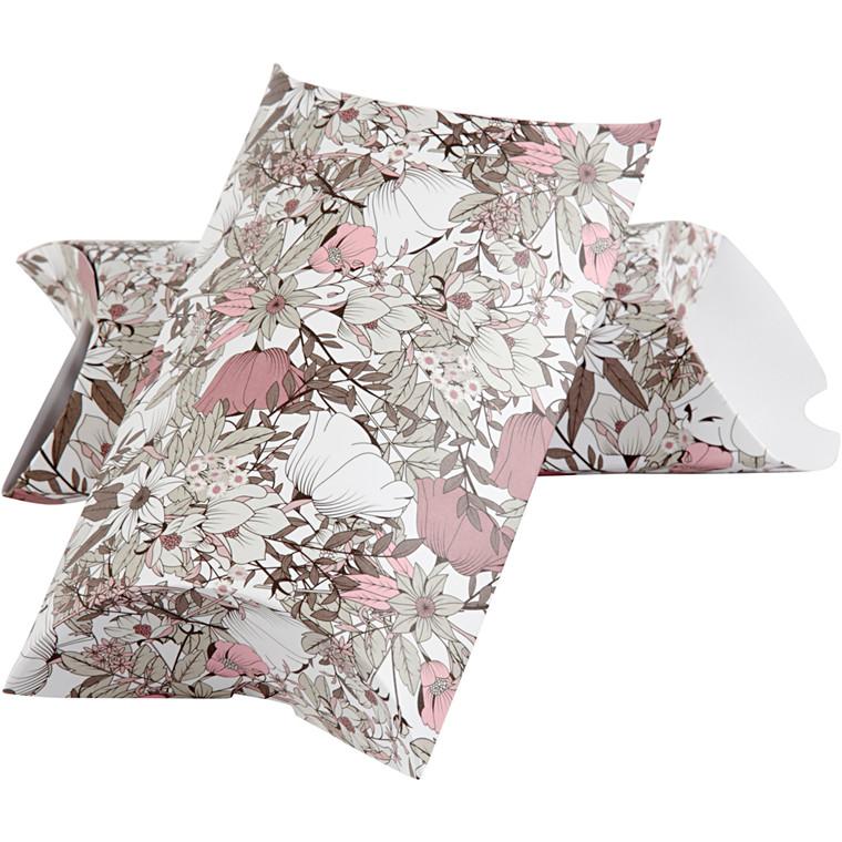 Gaveæske, str. 23,9x15x6 cm, 300 g, brun, beige, hvid, rosa, blomster, 3stk.