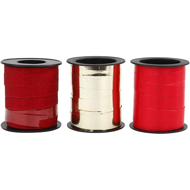 Gavebånd, B: 10 mm, rød, rød glitter, rød metallic, gl. dags, 3x15m