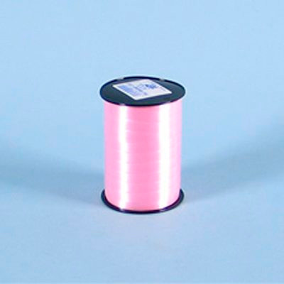 Gavebånd - i glat, lys rosa 1 cm x 250 meter, i5 ruller i pakken nr. 12