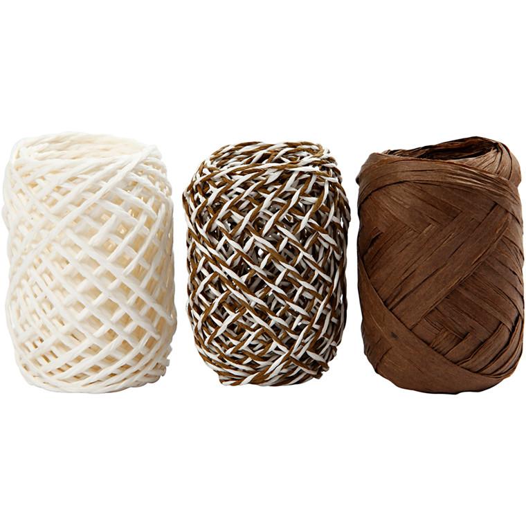 Gavebånd, tykkelse 1 mm, beige/brun harmoni, 3x10m