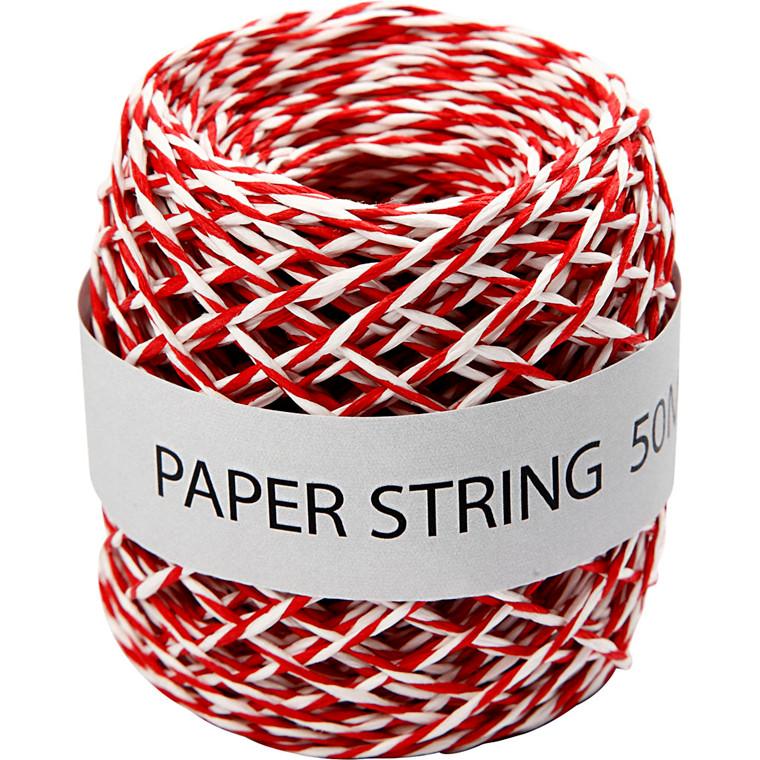 Gavebånd, tykkelse 1 mm, rød/hvid, 50m
