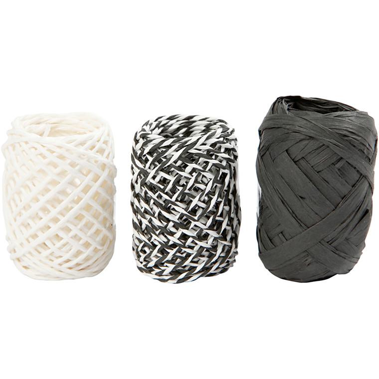 Gavebånd, tykkelse 1 mm, sort/hvid harmoni, 3x10m
