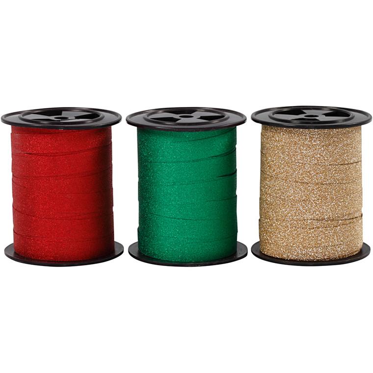 Gavebånd bredde 10 mm grøn guld rød glitter | 3 x 15 meter