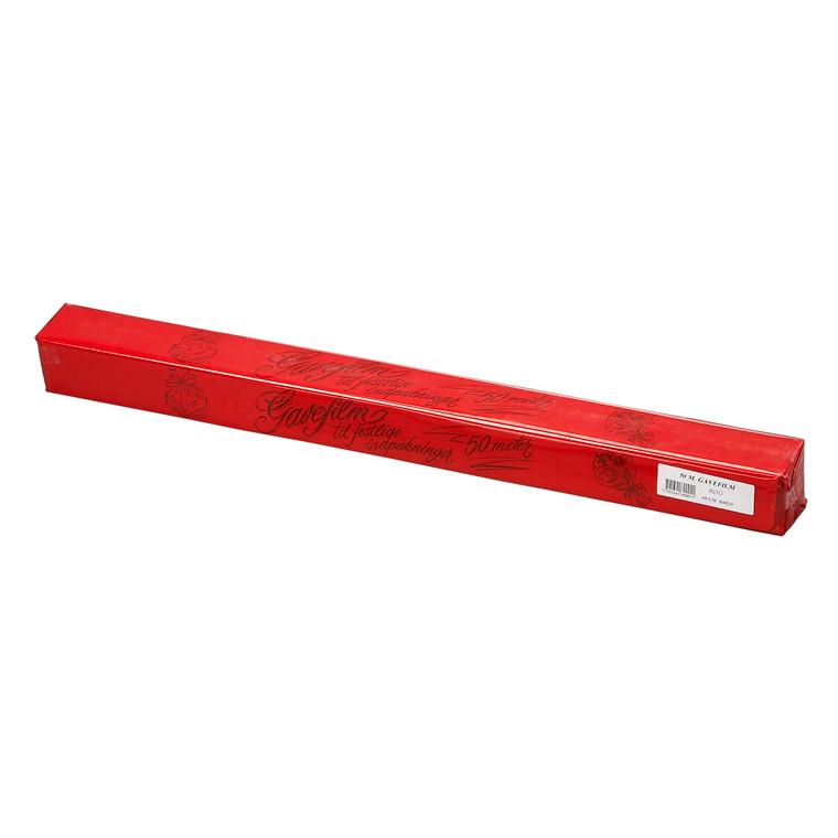 Gavefolie - i afrivningsæske i rød 60 cm x 50 m 25 my