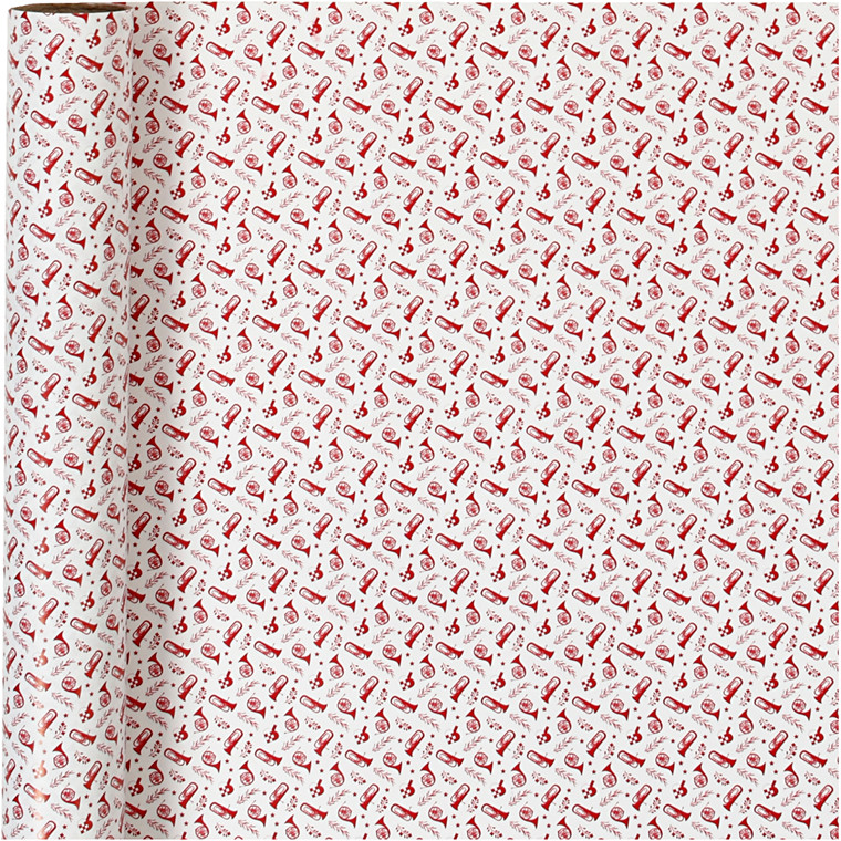 Gavepapir, B: 57 cm, 80 g, hvid, rød, trompet, 150m