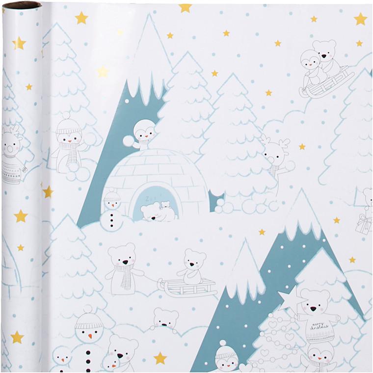 Gavepapir bredde 57 cm 80 gram polar jul | 150 meter