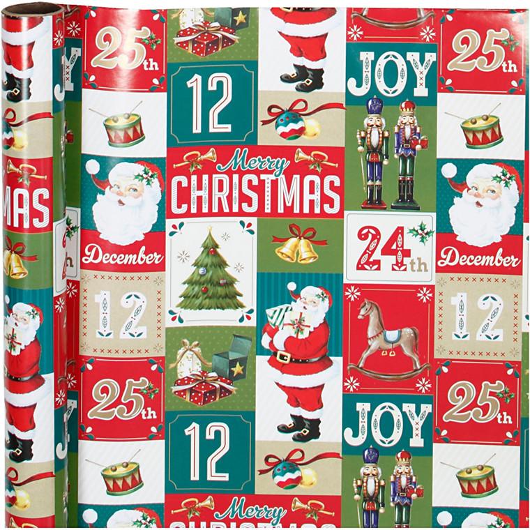 Julepapir bredde 70 cm 80 gram engelsk jul   4 meter