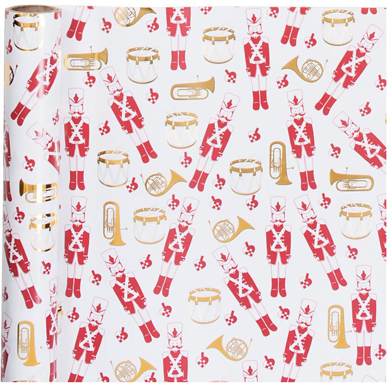 Gavepapir bredde 70 cm 80 gram hvid guld rød nøddeknækker | 2 meter