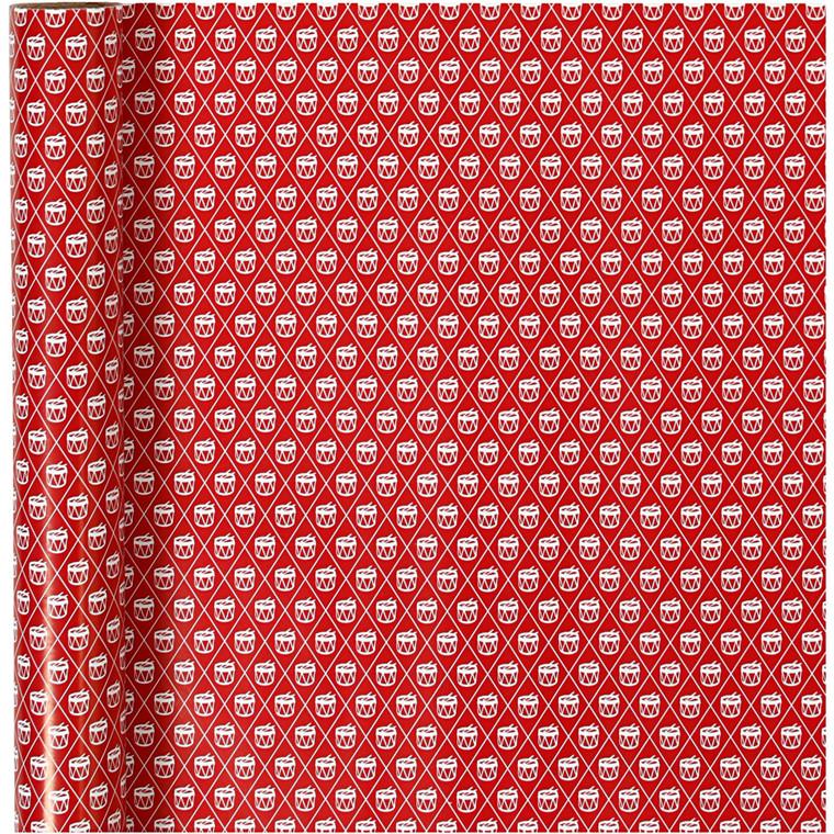 Gavepapir, B: 70 cm, 80 g, hvid, rød, tromme, 4m