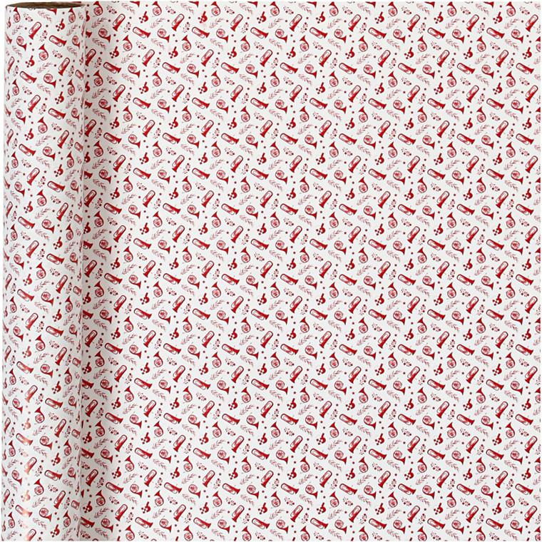 Gavepapir, B: 70 cm, 80 g, hvid, rød, trompet, 4m