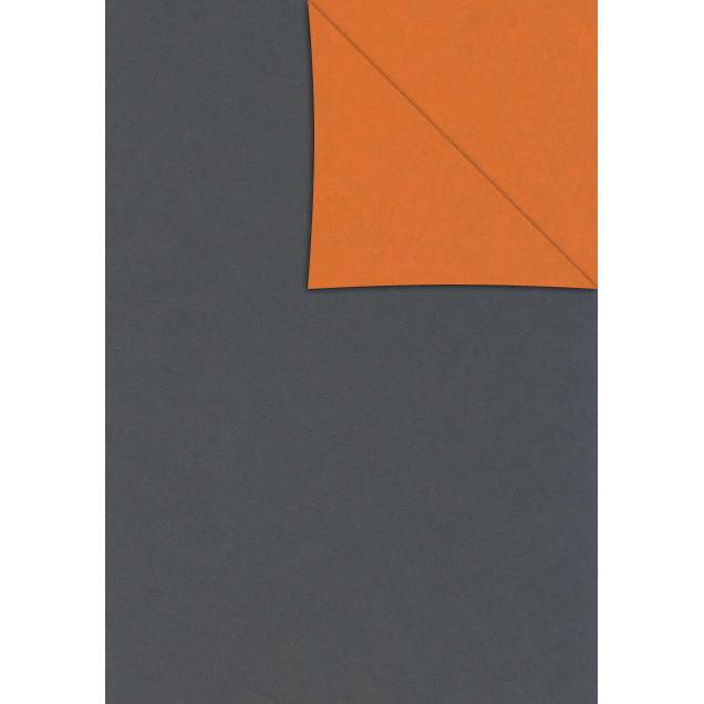Gavepapir dark grey/orange 40cmx150m dess 8996