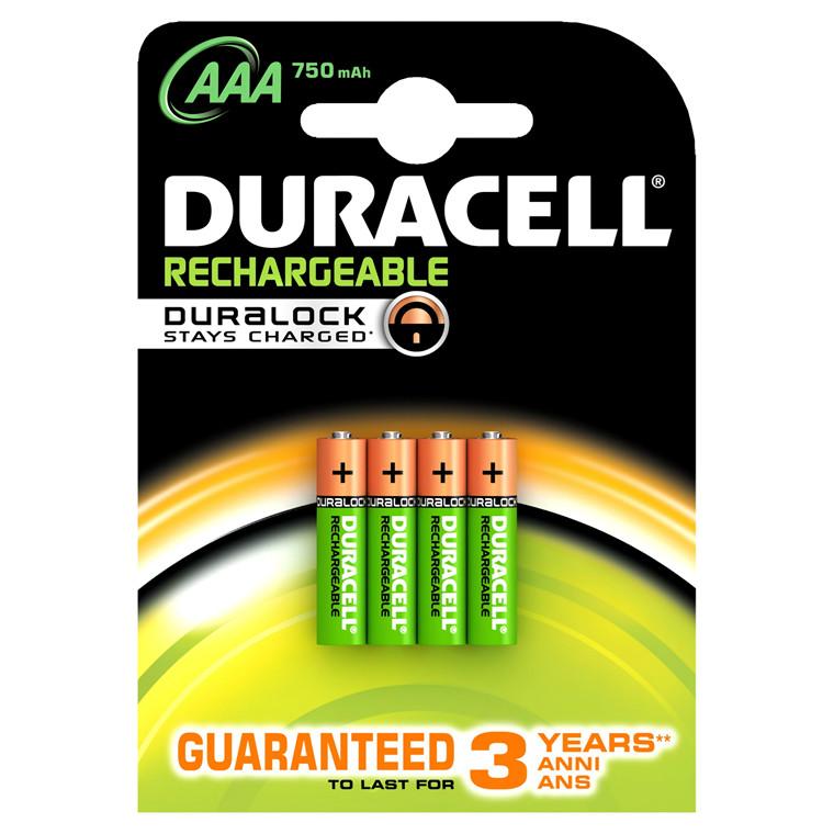Genopladelige AAA batterier Duracell - 750 mAh 4 stk i pakken