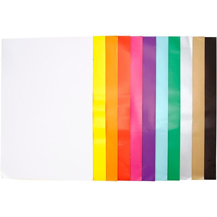 Glanspapir 11 assorterede farver størrelse 32 x 48 cm 80 gram - 11 x 25 ark
