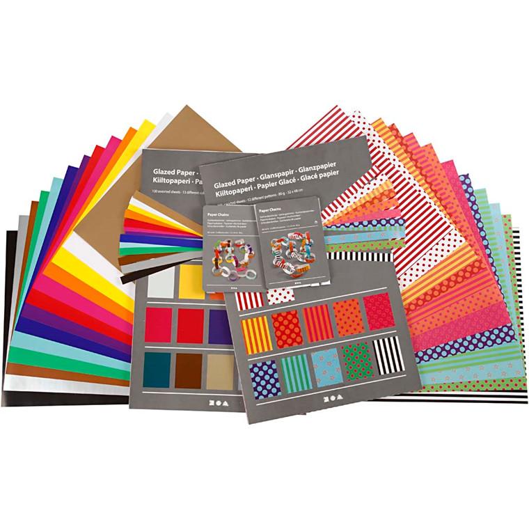 Glanspapir Klassesæt ark 32 x 40 cm 80 gram - 1 sæt
