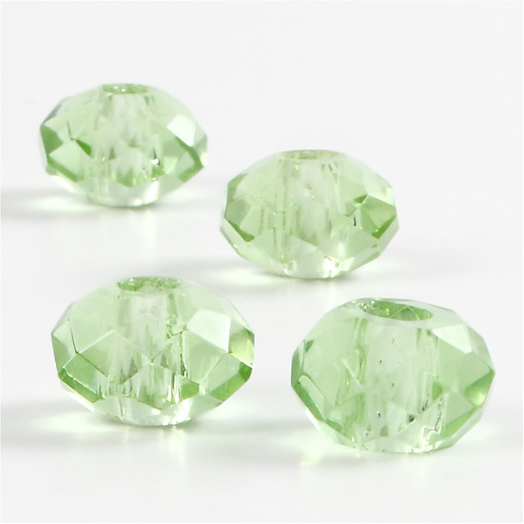 Glaslinks, str. 9x14 mm, hulstr. 4 mm, grøn, 4stk.