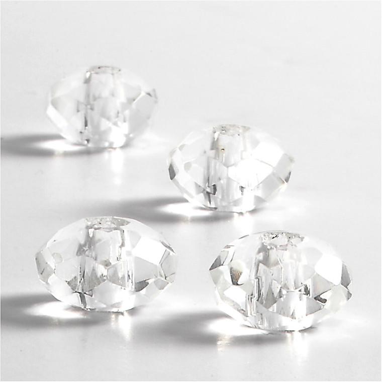 Glaslinks, str. 9x14 mm, hulstr. 4 mm, krystal, 4stk.