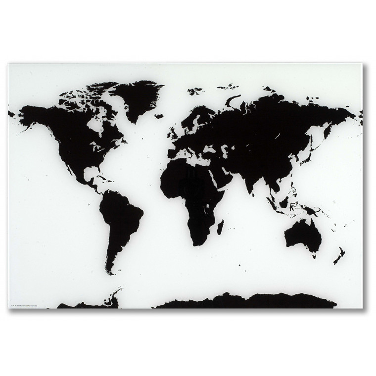 Verdenskort glastavle - Naga 80 x 55 cm