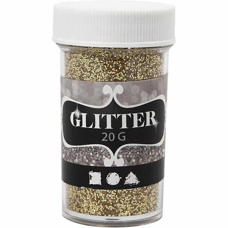 Glitter, dia. 35 mm, H: 60 mm, guld, 20g