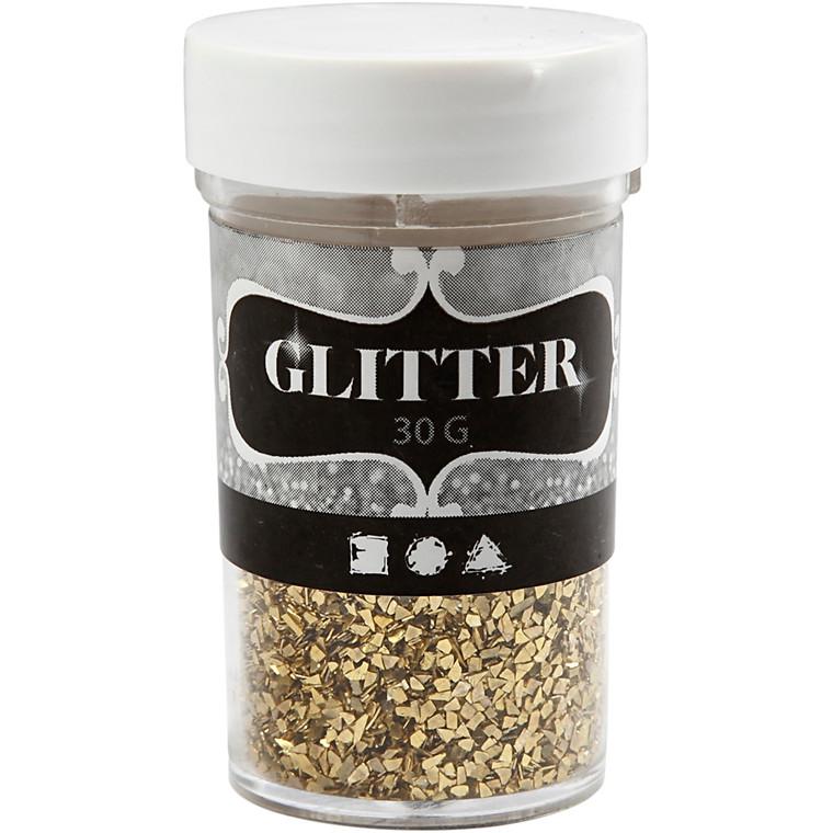 Glitter størrelse 1-3 mm guld | 30 gram