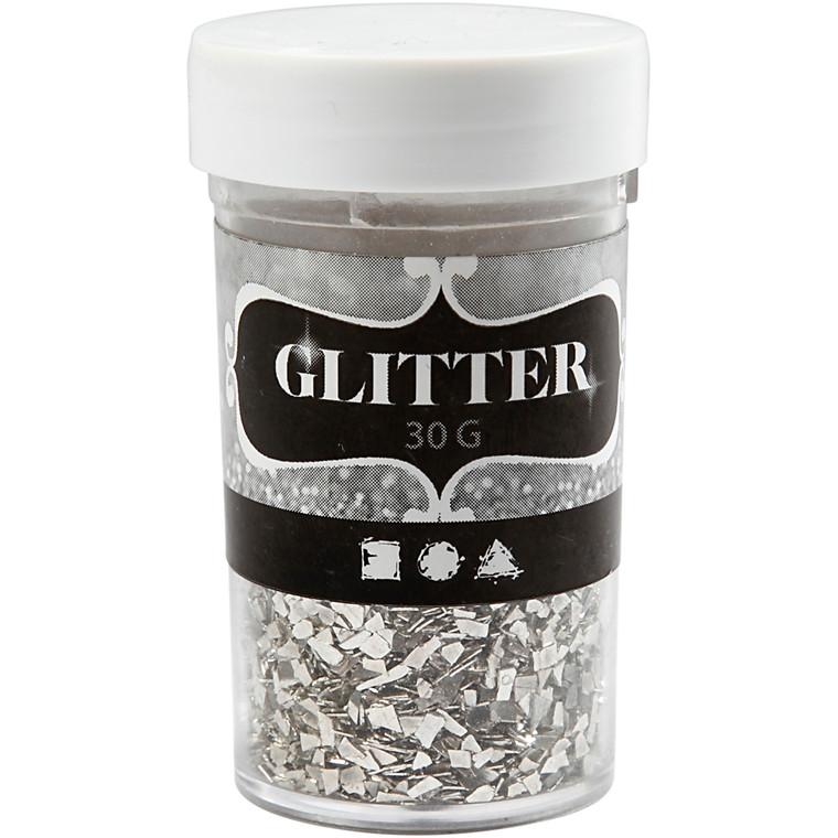 Glitter størrelse 1-3 mm sølv | 30 gram