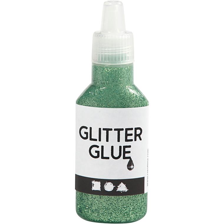 Glitterlim, grøn, 25ml