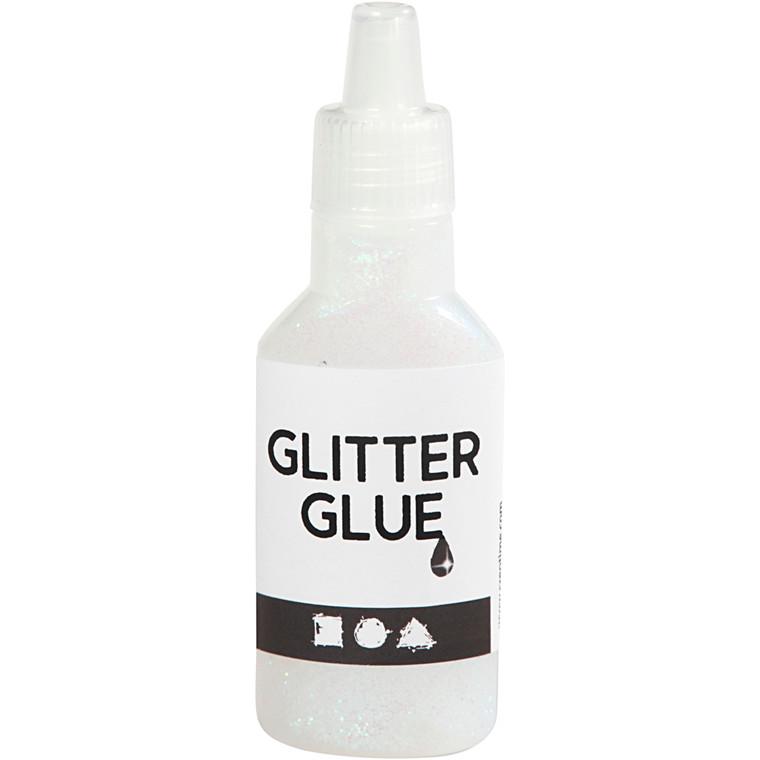 Glitterlim, holografisk hvid, 25ml