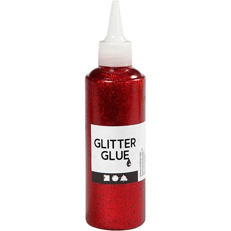 Glitterlim, rød, 118ml