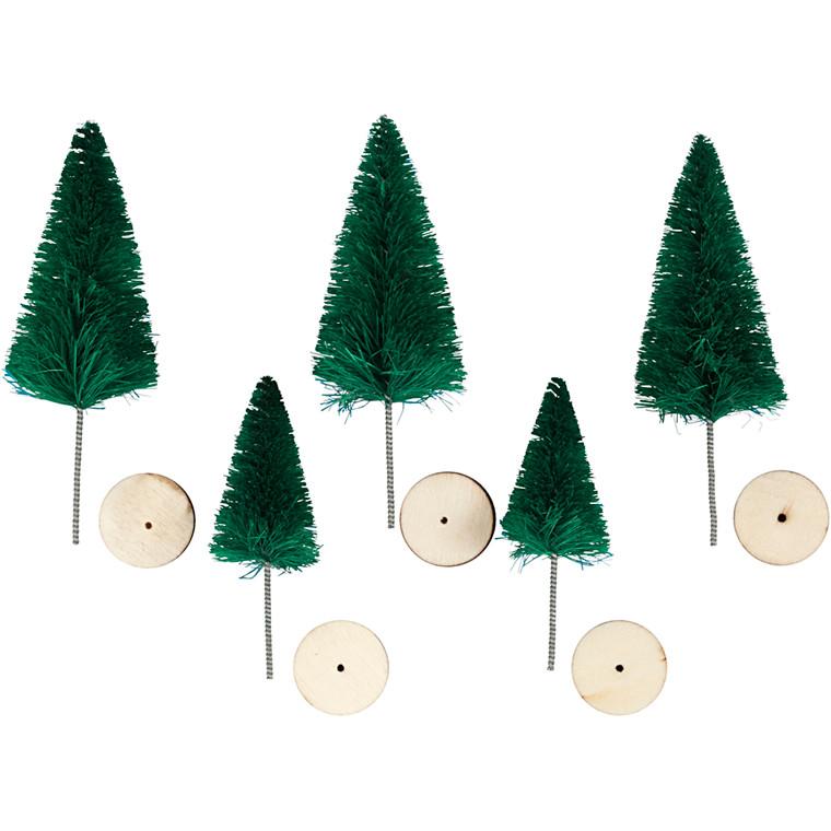 Grantræer højde 40 + 60 mm grøn - 5 stk.