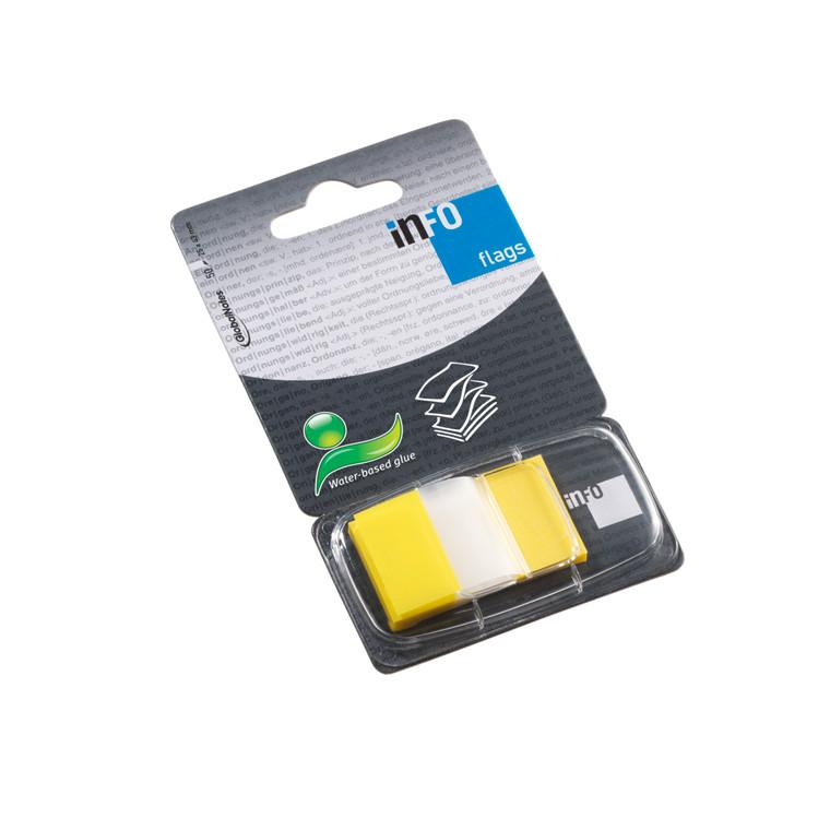 Gule Indexfaner - Info 25 x 43 mm med dispenser  - 50 stk