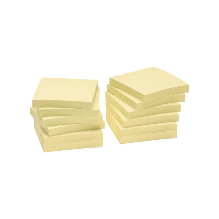 Gule Notes - Nature genbrugspapir 75 x 75 mm - 12 blokke
