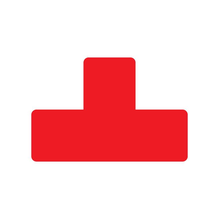 Gulv klistermærker - T form rød bredde 50 mm - 10 stk