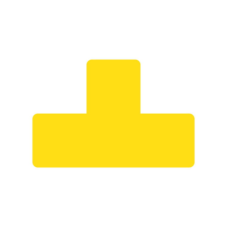 Gulvetiketter -  T form gul bredde 50 mm - 10 stk