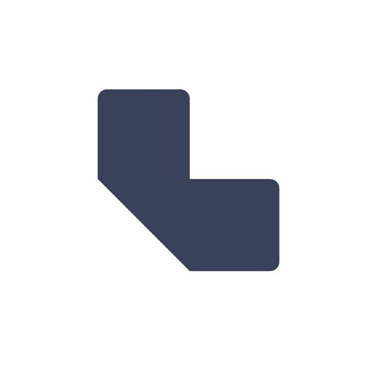 Gulvmærker - L form blå bredde 50 mm - 10 stk