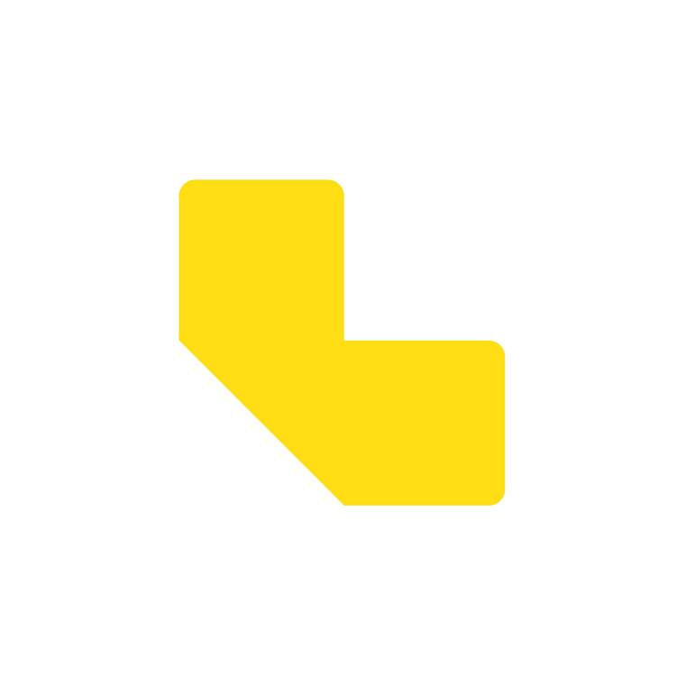 Gulvmærker - L form gul bredde 50 mm - 10 stk