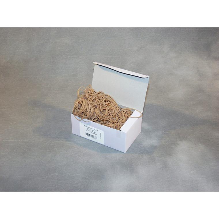 Gummibånd brun nr 20 - 100 mm 250 g i æsken