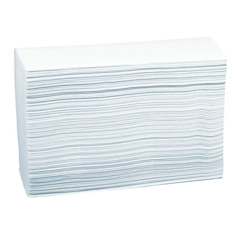 Håndklædeark, neutral, 2-lags, Z-fold, 24x20,6cm, 8 cm, hvid, 100% nyfiber