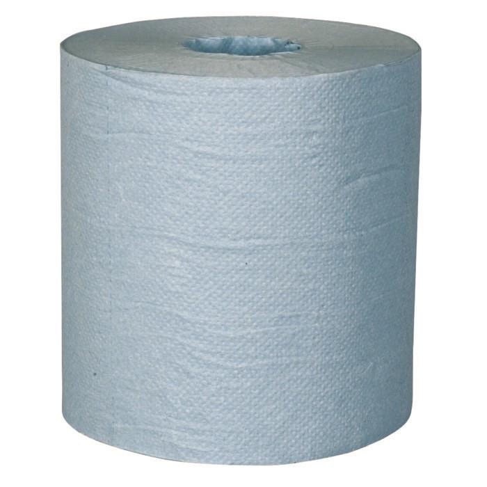 Håndklæderulle, 1-lags, med hylse, blå - 19,50 cm x 250 m