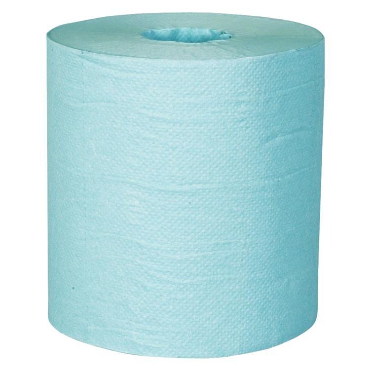 Håndklæderulle, neutral, 1-lags, Midi, 300m x 20cm, Ø20cm, blå, 100% genbrugspapir