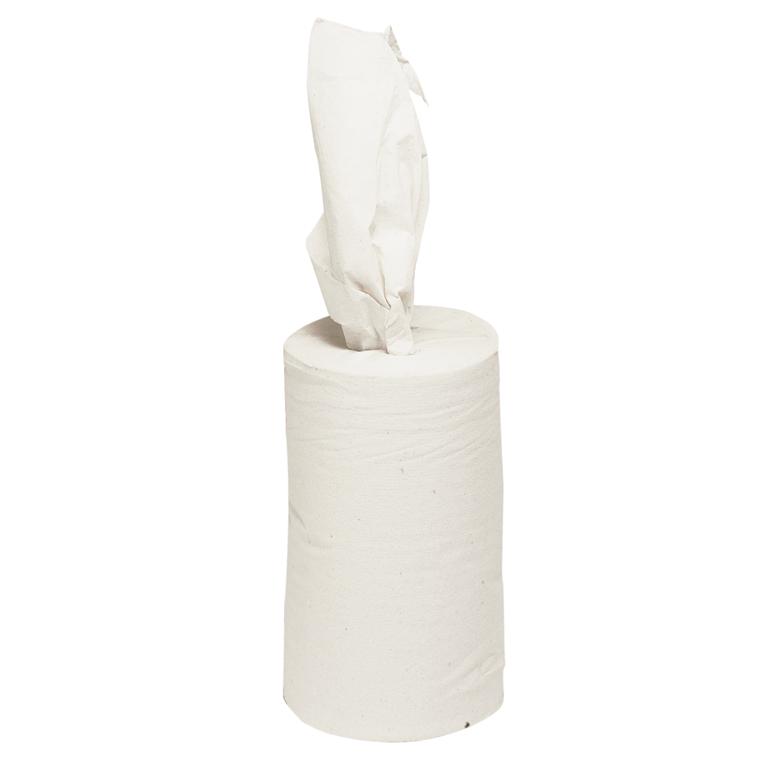 Håndklæderulle, neutral, 1-lags, Mini, 120m x 20,3cm, Ø13,5cm, hvid, 100% genbrugspapir, uden hylse