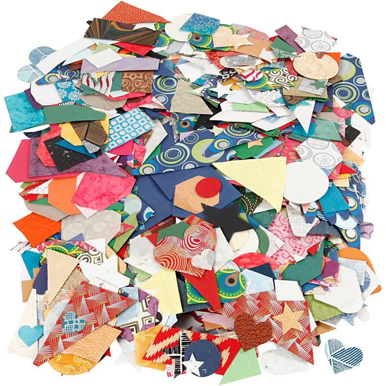 Håndlavet papir , str. 25-130 mm, 110 g/m2, 500g