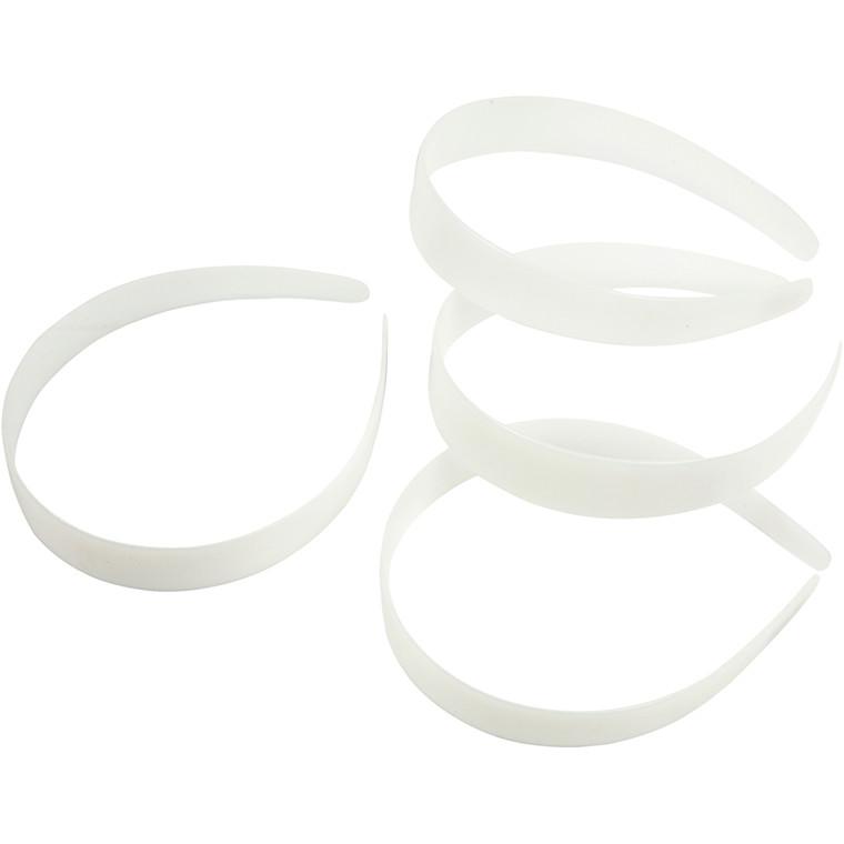 Hårbøjle, B: 25 mm, hvid, 5stk.