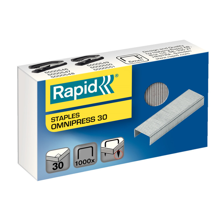 Rapid hæfteklamme 6 mm ben - Rapid Omnipress 30 1000 stk i æsken
