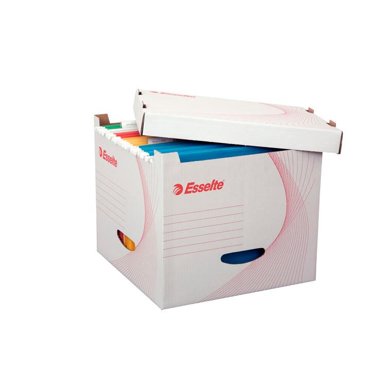 Esselte opbevaringskasse til A4 hængemapper 32 x 28 x 32,5 cm - hvid karton