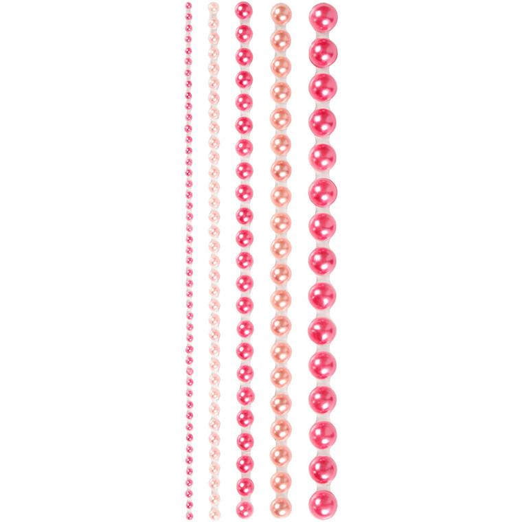 Halv-perler, str. 2-8 mm, pink, Skagen, 140ass.